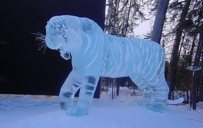 Скульптура тигра з льоду