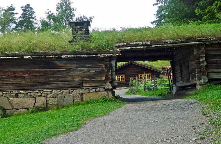 травяная норвежская крыша