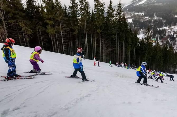 діти на гірськолижному спуску