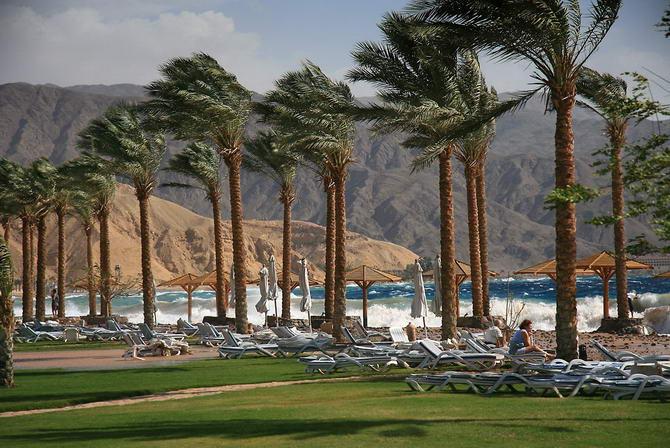 пляж Египта во время ветра