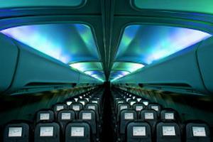 північне сяйво в літаку