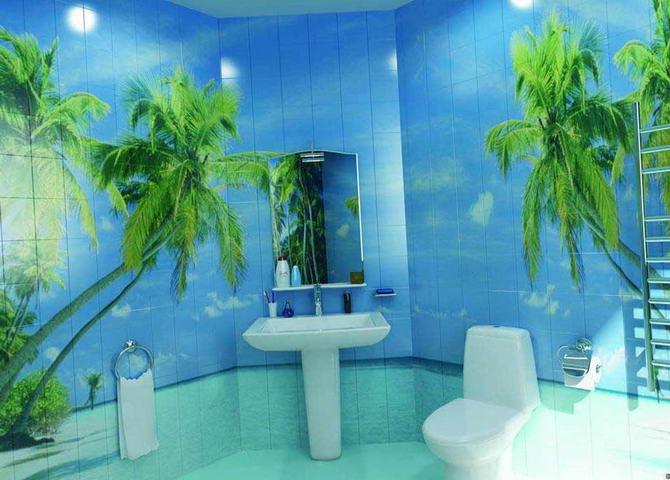 дизайн ванной комнаты с фотоплиткой