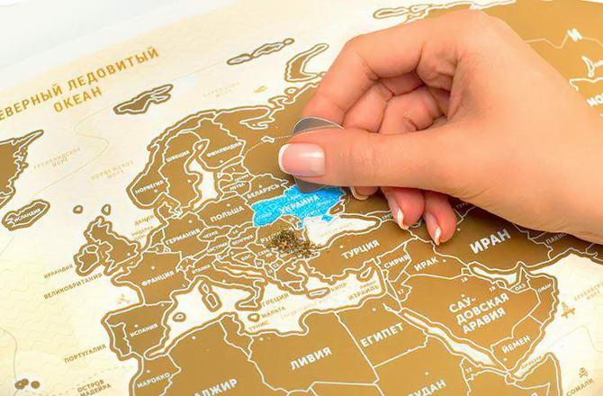 карта мира со скретч покрытием
