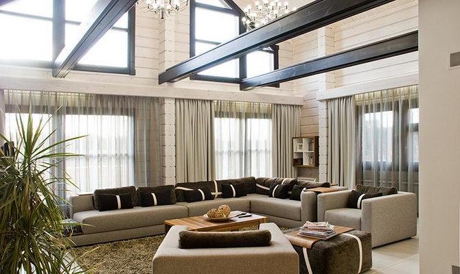 дизайн гостиной со вторым светом