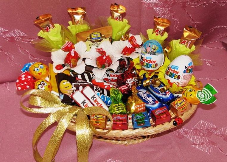 Детский подарок из конфет своими руками