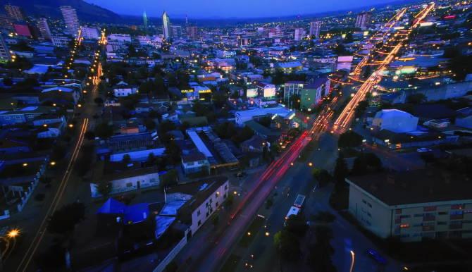 місто Темуко вночі